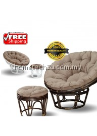 Papasan Rattan Bamboo Sofa Chair With Stool (Free Shipping)